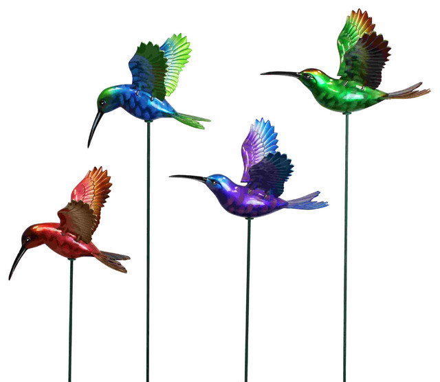 7 in windy wings hummingbird garden stake assortment 1 for Hummingbird decor