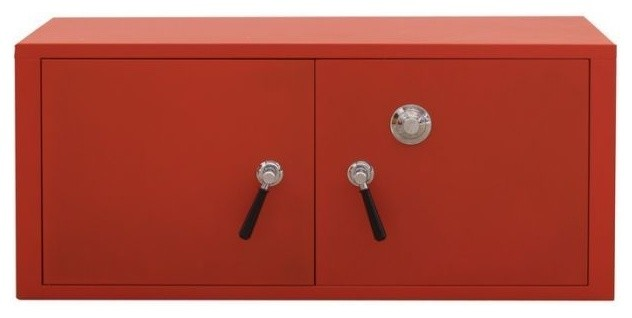 Stack-C Metal Cabinet 2 Door Safe, Red Standard - Contemporary - Storage Cabinets