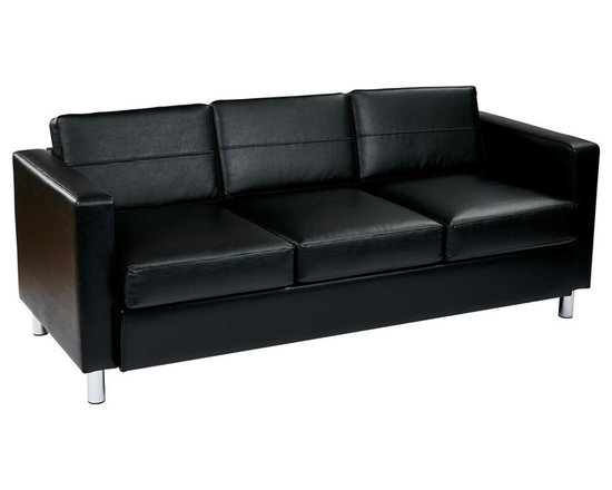 Ave Six - Sofa Couch in Black - Contemporary look. Silver finished legs. High performance easy care upholstery. Cushioned box spring seats. Intended for residential or commercial use. Weight capacity: 400 lbs.. Made from faux leather, foam, vinyl and chrome. Assembly required. Seat: 63 in. W x 21.75 in. D x 18 in. H. Back: 63 in. W x 13 in. H. Overall: 72.5 in. L x 31.5 in. W x 29.5 in. H (112 lbs.)