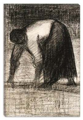 Paysanne Les Mains Au Sol 1882 by Georges Seurat Canvas Painting modern-artwork