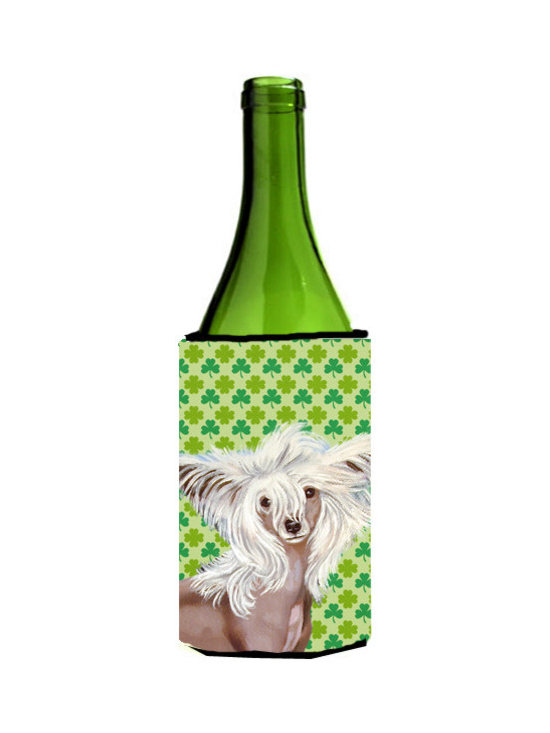 Caroline's Treasures - Chinese Crested St. Patrick's Day Shamrock Portrait Wine Bottle Koozie Hugger - Chinese Crested St. Patrick's Day Shamrock Portrait Wine Bottle Koozie Hugger Fits 750 ml. wine or other beverage bottles. Fits 24 oz. cans or pint bottles. Great collapsible koozie for large cans of beer, Energy Drinks or large Iced Tea beverages. Great to keep track of your beverage and add a bit of flair to a gathering. Wash the hugger in your washing machine. Design will not come off.