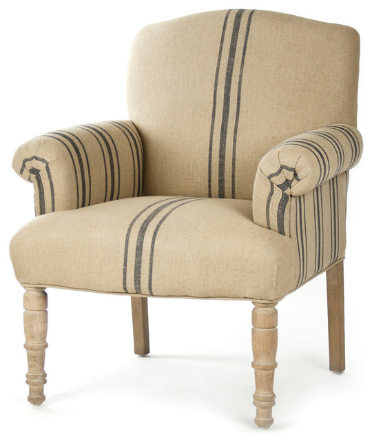 Rama french country blue stripe linen club chair transitional armchairs and accent chairs for Images of couch for hall rennes