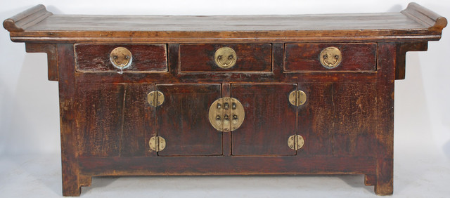 Antique chinese rustic console cabinet asian buffets for Asian console cabinet
