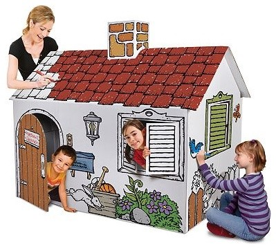 Discovery Kids Cardboard Playhouse traditional-outdoor-playhouses