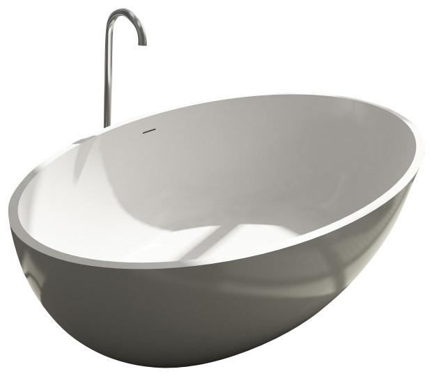 ADM White Solid Surface Stone Resin Bathtub, Glossy modern-bathtubs