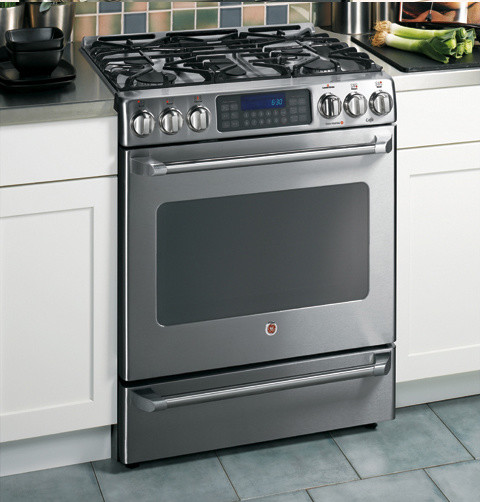 GE 30-Inch Cafe Dual-Fuel Freestanding Convection Self-Cleaning Range contemporary-gas-ranges-and-electric-ranges
