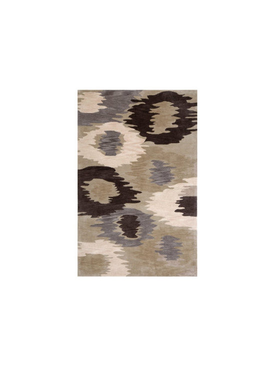 """Grandin Road - Gray Puddle Jumper Indoor Area Rug - 3'6"""" x 5'6"""" - Beautifully hand-tufted. Durable 100% polyester. Heavyweight denim/cotton backing. Indoor use only. Easy to care for. Our plush Gray Puddle Jumper Indoor Area Rug weaves an artistic pattern full of dynamism and muted hues. Impressionist rings of solid violet, cream, black and dark gray elegantly ripple over a light gray backdrop for an engrossing piece filled with aquatic imprecision.  .  .  .  .  . Imported."""