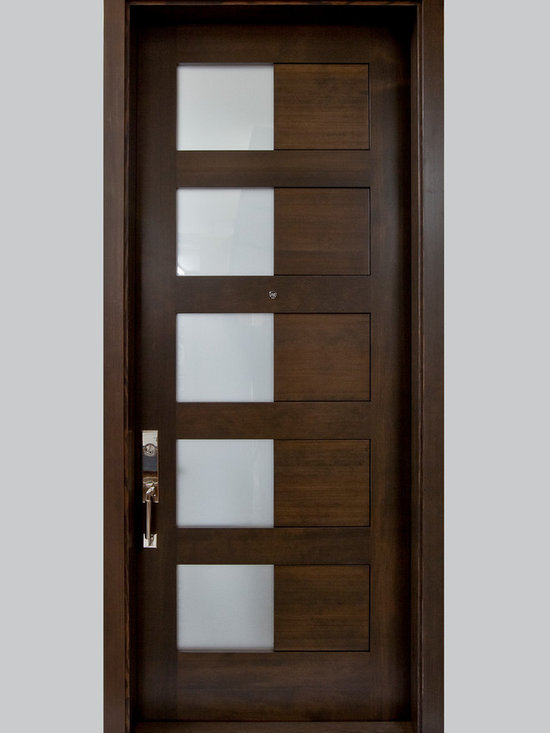 River City Woodworks in Fernie BC - Modern Doors - Verticle Grain Fir, Frosted Glass with seamless transition in panels from glass to wood door is 8 feet tall