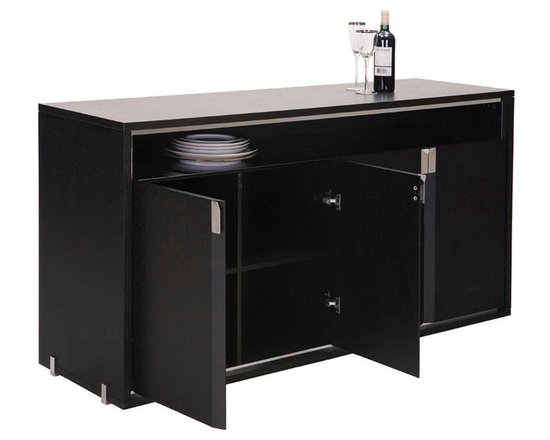 LIMITLESS - MARS - The Mars Cabinet (WHW-5018) has a mirrored stainless steel frame which echoes the Eudora table details. The inset top shelf of black glass gives another dimension of play on texture with in this stunning side board. There is functionally configured compartments Inside the Mars dining cabinet. Stainless steel hardware features the bevel design while a band of stainless steel frames the cabinet. The Mars dining cabinet with its modern dexterity creates a cohesive look and unifying atmosphere.