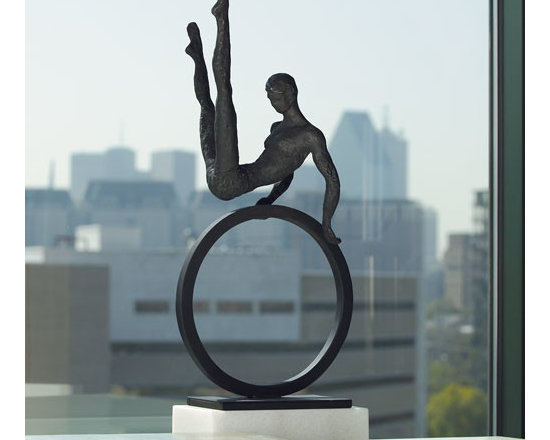 """Gymnast Man Iron Sculpture - Shipping is included in the price! Experience the magic of the big top with this lifelike cast iron sculpture. Dimensions: 9""""w x 5""""d x 25""""h"""