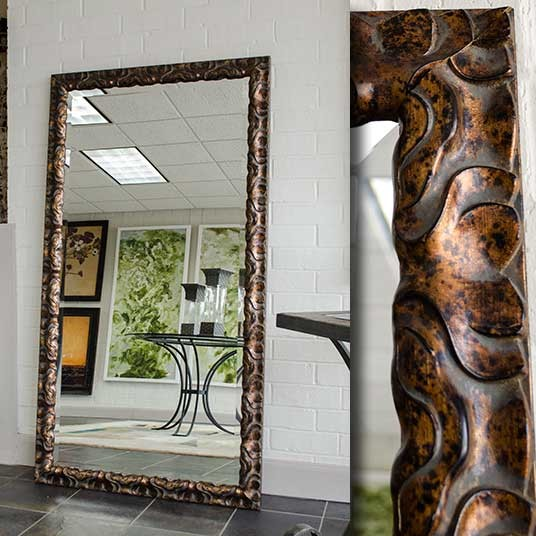 Large floor mirror on bronze rustic frame contemporary for Framed floor mirror