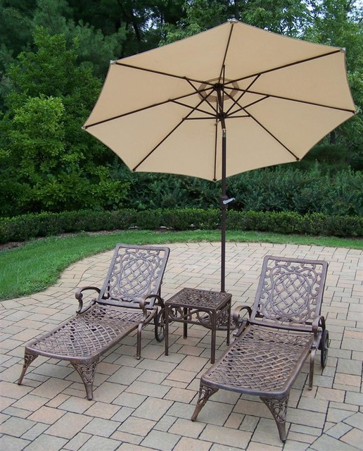 4-Pc Patio Chaise Lounge Set mediterranean-outdoor-chaise-lounges