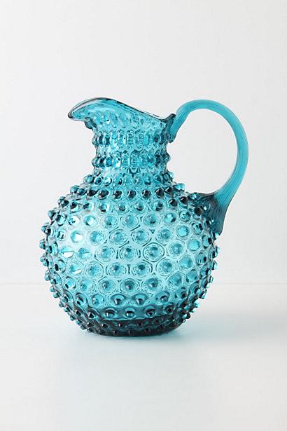 Hobnail Pitcher, Blue contemporary-pitchers