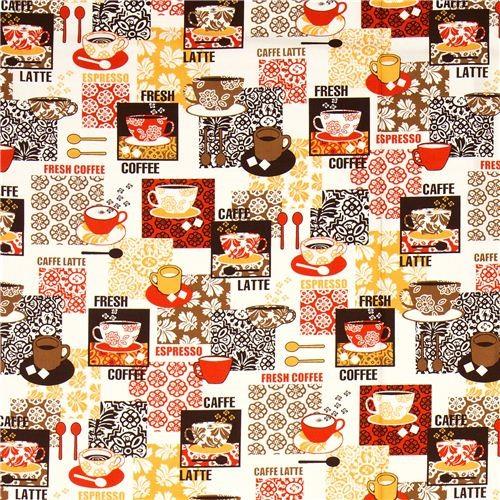 beige fabric coffee cup sugar by Robert Kaufman fabric
