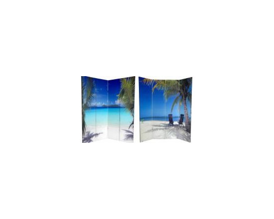 Functional Art/Photography Printed on a 6ft Folding Screen - four panel double sided 6ft folding screen with printed photo image of beach