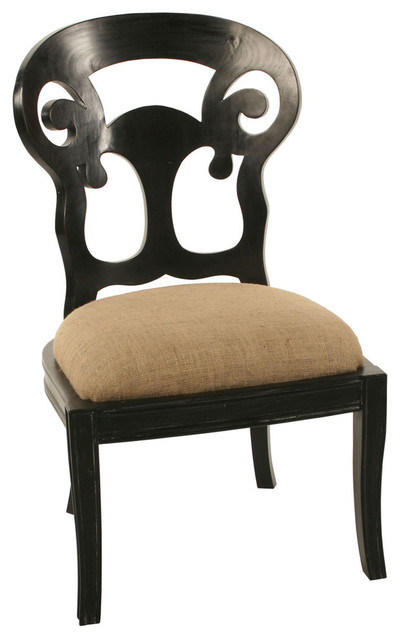Saragossa Side Chair Hand Rubbed Black Farmhouse Dining Chairs by Bli