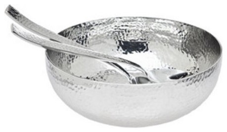 Godinger Hammered Salad Bowl & Servers modern serveware