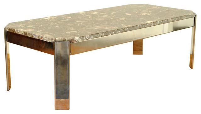 An Italian Late Art Deco Chrome & Marble Coffee Table - Coffee Tables - atlanta - by ROBUCK