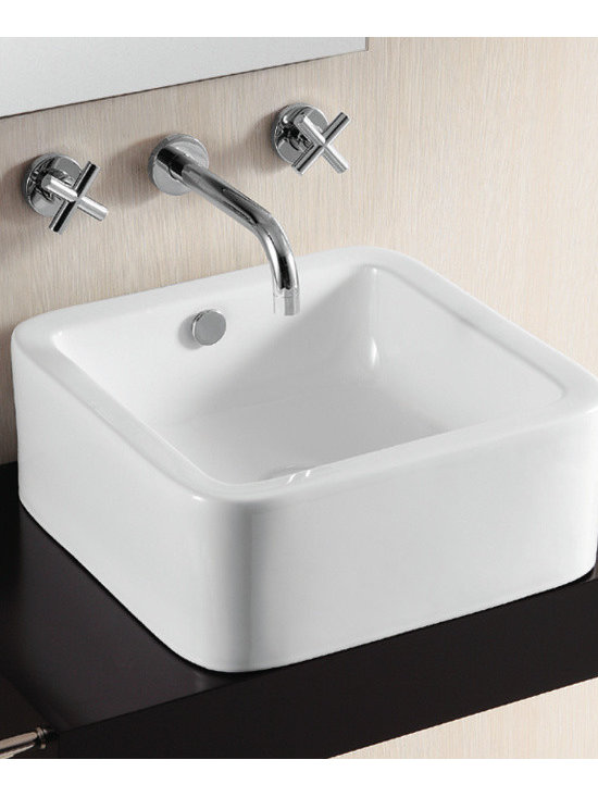 "Caracalla - Elegant Square White Ceramic Vessel Bathroom Sink by Caracalla - Modern square white ceramic above counter vessel bathroom sink. This elegant modern sink is designed in Italy by Caracalla. Includes overflow but has no faucet holes. Sink dimensions: 16.54"" (width), 6.50"" (height), 16.54"" (depth)"