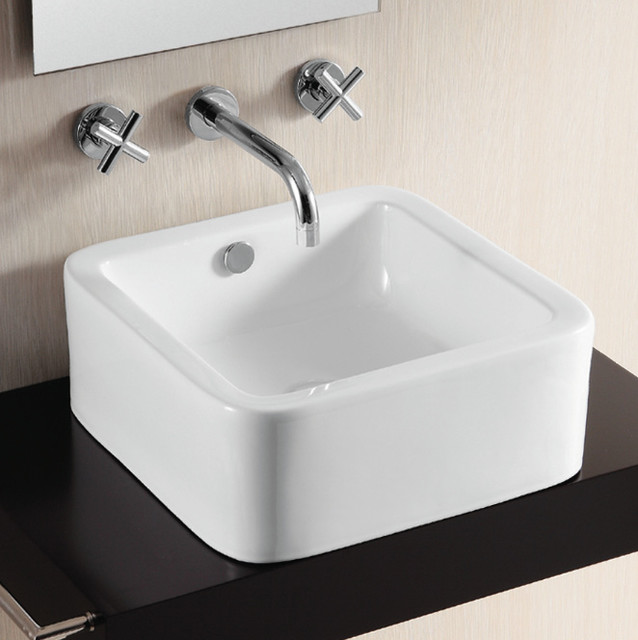 ... Square White Ceramic Vessel Bathroom Sink by Caracalla modern-bathroom