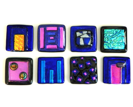 Glass Accent Tiles by Uneek Glass Fusions. www.uneekglassfusions.com - Glass tile in colorful dichroic glass. Custom