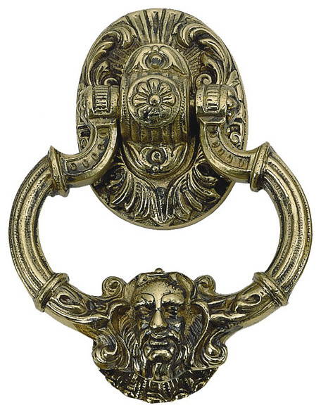 Solid Brass Neptune Door Knocker traditional-door-knockers