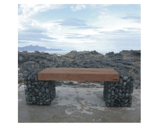 Gabion Bench - Sculptural Garden Bench - This bench is cool for the combination of natural elements in it. The wire frame holding river rocks adds a unique design element that makes this bench different.
