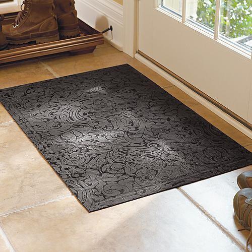 Low-profile Scroll Trellis Mat traditional-bath-mats