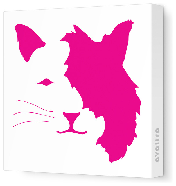 "Animal Face - Cat Stretched Wall Art, 12"" x 12"", Fuchsia contemporary-kids-decor"