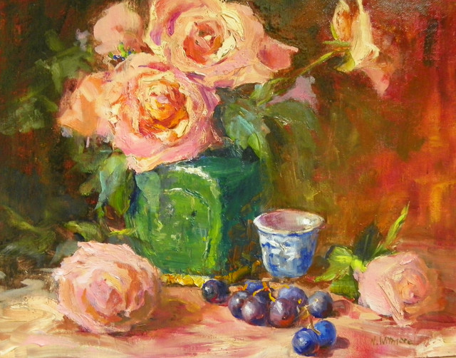 'Ming Jar With Pink Roses' Framed Oil Painting traditional-originals-and-limited-editions