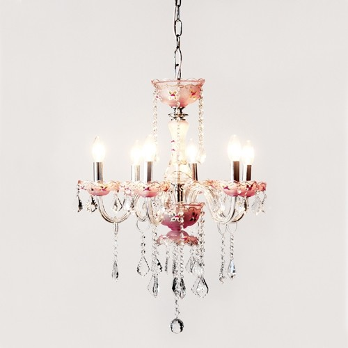 6 Light Pink Crystal Chandelier Traditional