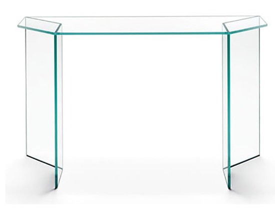 Mirage Console - Mirage Console - modern glass console table. Mirage console table is part of the collection that is in perfect combination of two materials: Tonelli design glass and Alpi wood. Also available in the extra clear glass mirrored with veneered Alpi wood finish. The Mirage family consists of two low tables with a rectangular and square top, a night table, and a console. Mirage console can be orderd with or without the wood detail. Design by Matteo Ragni. Dimensions: 47W x 18D x 29.5H