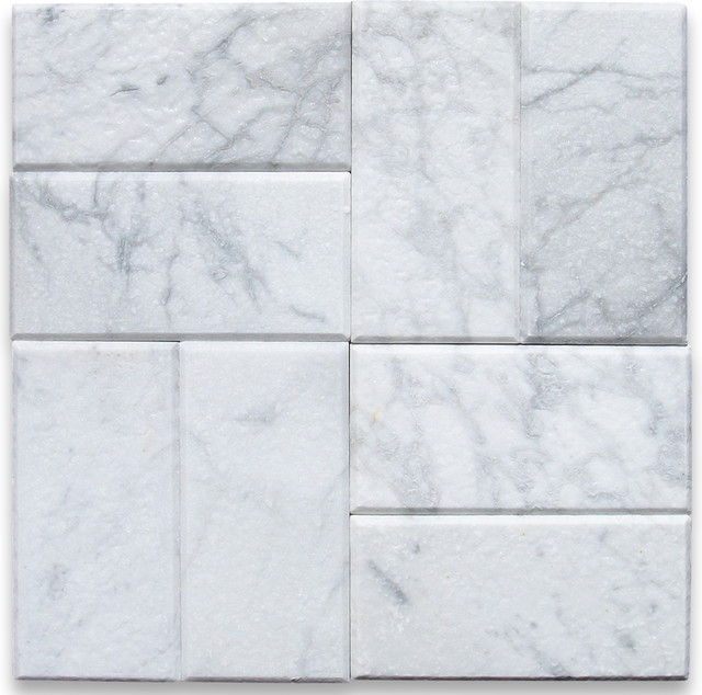 Carrara White 3 x 6 Subway Tile Tumbled - Marble from Italy tile