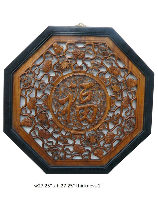 "Chinese Octagon ""Fok"" Character Center Wall Panel - This wall panel is in octagon shape with two colors finish. Center theme is the Chinese character ""fok"" and surrounded by continous pattern of double coins and lotus."