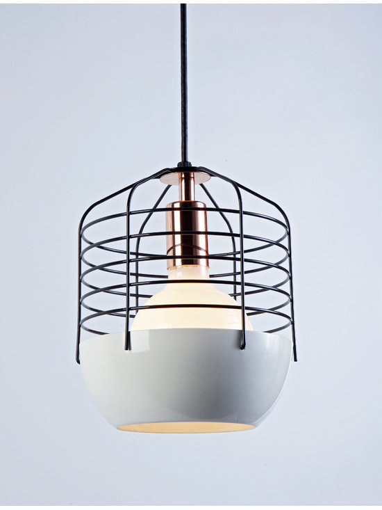 Bluff City Pendant - 8 inches - White/Black - Bluff City merges a traditional pendant shade and a wire cage into an industrially inspired but refined pendant. A variety of finish combinations gives the light a vaguely postmodern feel that echoes the Memphis movement. However, the Tennessee town, known as Bluff City, was the inspiration for the series. By Jonah Takagi for Roll & Hill. Photo credit: Joseph de Leo