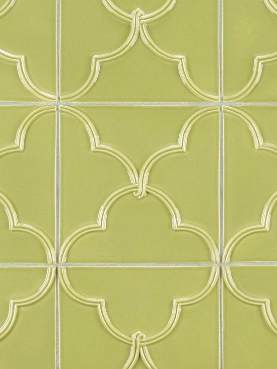 """Ceramic - ANN SACKS Revival 6"""" x 6"""" clover ceramic decorative tile in lime gloss"""