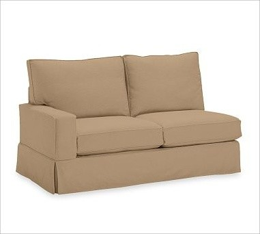 PB Comfort Square Left Love Seat, Down-Blend Cushions, Brushed Canvas Walnut traditional-chairs