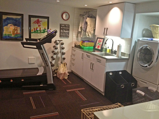 Laundry Room Multi Tasks As A Workout Space Contemporary