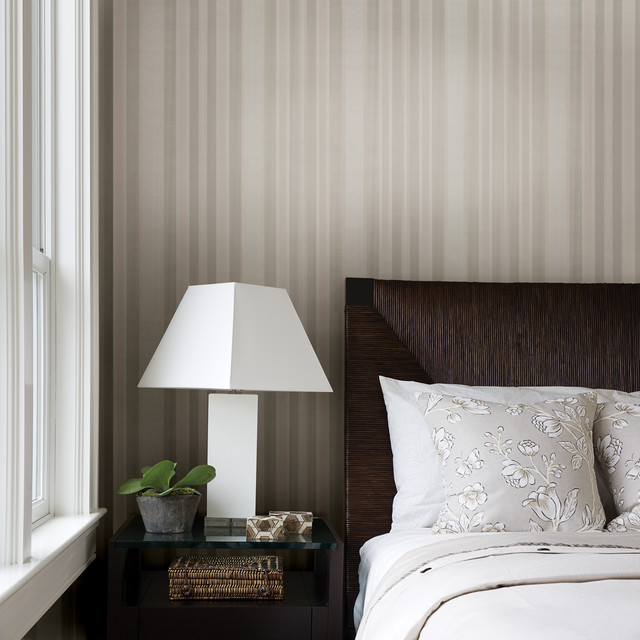 Striped wallpaper traditional bedroom other metro for Striped wallpaper bedroom designs