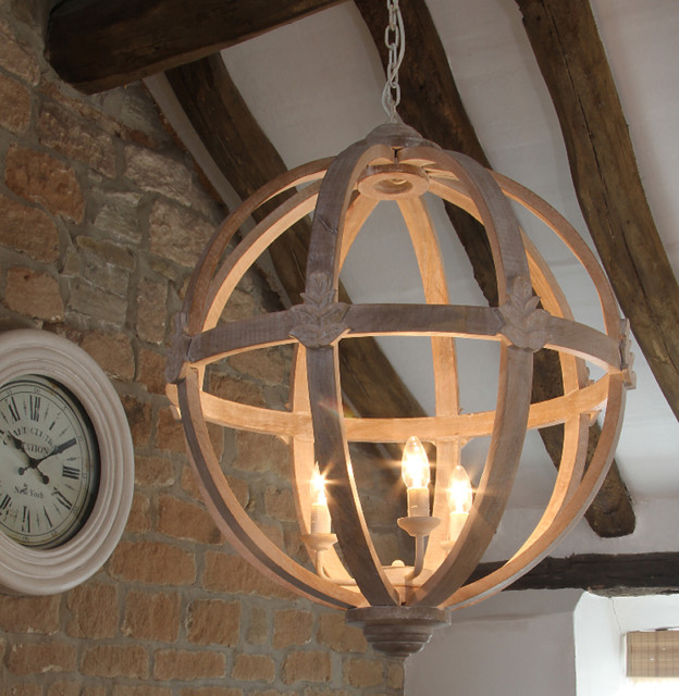 Round Wooden Orb Chandelier Country Chandeliers