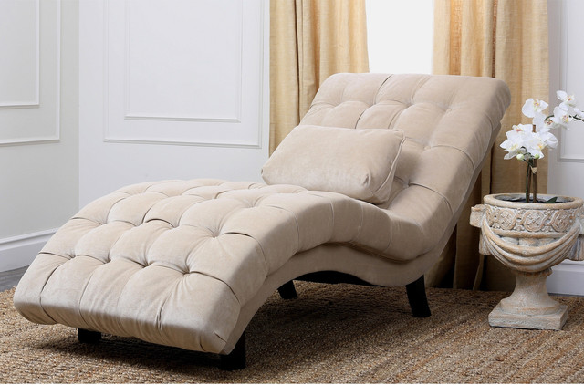 abbyson living soho cream fabric chaise contemporary