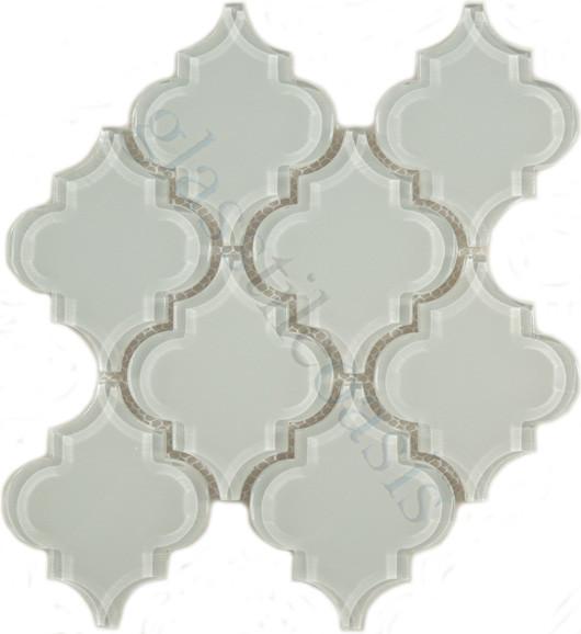 Ornamental Unique Shapes White Bathroom Glossy Glass - Contemporary - Tile