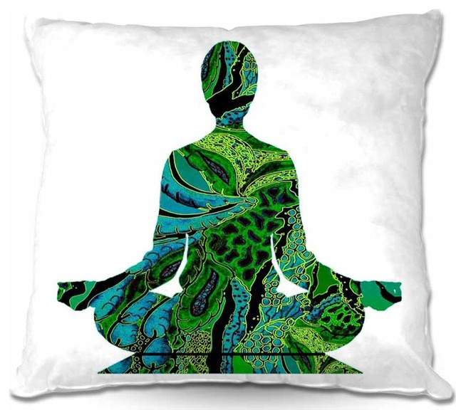 Pillow Linen - Silhouette Man Woman Yoga contemporary-decorative-pillows