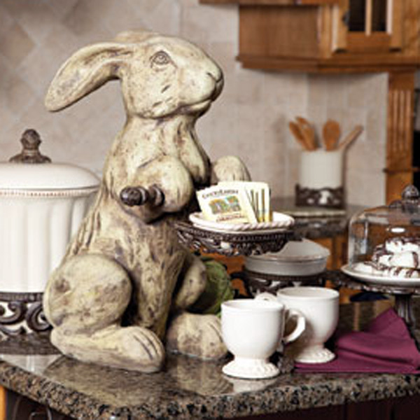 Cast stone rabbit cream traditional home decor Traditional home decor images