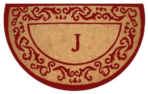 Rolling Scrolls Demilune Personalized Initial Coir Doormat traditional-doormats