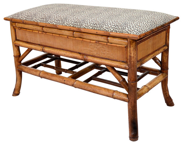 Turn Of The Century Bamboo Bench With Storage Modern Accent And Storage B