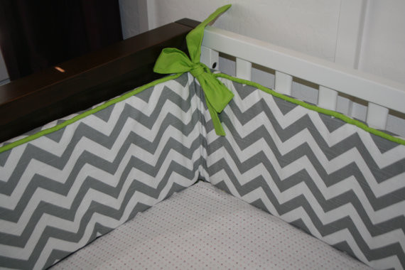 Chevron Custom Crib Bumper by Tuft Love Fabric traditional-crib-accessories
