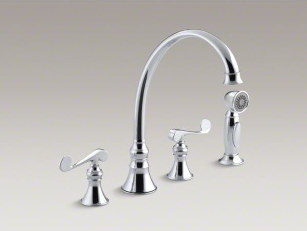 "KOHLER Revival(R) 4-hole kitchen sink faucet with 9-3/16"" spout, matching finish contemporary-kitchen-sinks"