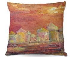 Pillow Woven Poplin by Dora Fichers Orange Sky contemporary-decorative-pillows