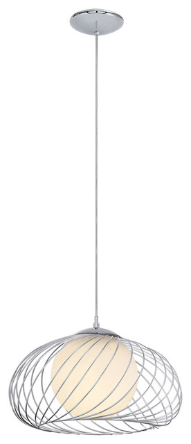 Eglo 90754A Chrome 1X60W Pendant Hanging Light modern-pendant-lighting